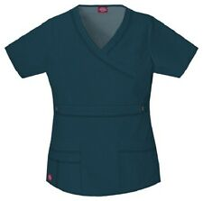Dickies Scrubs 817355 V Neck Scrub Top Dickies GenFlex Jr Fit Caribbean Blue