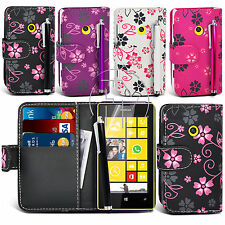 Flower Book Wallet Case Flip Leather Case Cover Pouch For Nokia Lumia 520