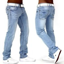 Herren Jeans  Hose Denim Authentic Destroyed Clubwear Slimfit White-Sky De2