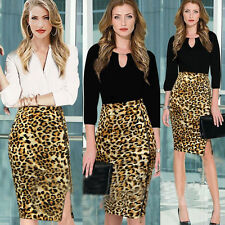 Women Celebrity Leopard Stretch High Waist Zip Cocktail Bodycon Pencil Skirt