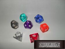 GEM DICE SETS - Multi Sided Poly Dice D20 RPG D&D NEW
