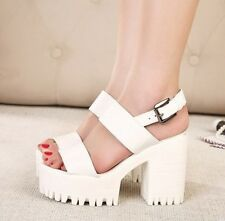Fashion HOT Women's High Chunky Heels Platform Strap Sandals Summer Punk Shoes