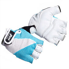 Weight Lifting Cycling Gloves Ladies Leather Gel Padded  Blue/White Micro
