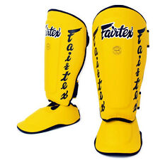 Fairtex Muay Thai Twister Shin Guards SP7 Detachable In Step Shin Pads Yellow