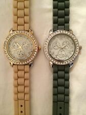 Women's Around Face Watch with Cz Crystal Rhinestone -Silicone Rubber Jelly Link