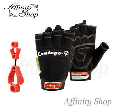 Contego Fingerless Work Gloves +FREE GLOVE CLIP+ Mechanic Style Glove Any Size
