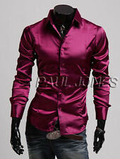 IN 3Colors New Mens Fashion Formal Casual Slim Fit Dress Shirts T-Shirt Blouse