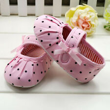 1 Pair Kids Baby Girl Pink Polka Dot Soft Sole Crib Shoes Prewalker First Shoes