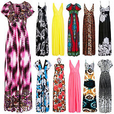 New Womens Long Bright Floral Printed Maxi Dress Ladies Party Summer Size 8-20