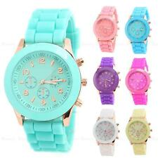 Unisex GENEVA Silicone Rubber Jelly Gel Quartz Analog Sports Women Wrist Watch