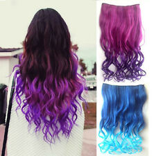 Women Multi Colors Full Head Clip in Long Curly Hair Synthetic Hair Extensions