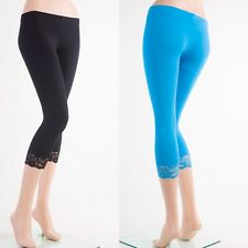 C-L1001 Capri Cotton LACE Trim Leggings Skinny Yoga Pants S~3XL Plus Yoain