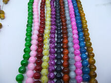 30pcs 8mm Round Chic Glass Loose Charms Spacer Beads Pick 12Colors -1/Mixed G10