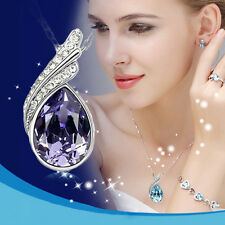 Purple Elegant Lady Jewellery Set Crystal Alloy Studs Earrings And Necklace