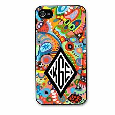 Monogrammed Case for iPhone 4 4S 5 5S Colorful Painted Personalized Cover Case