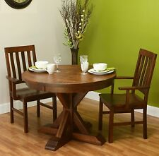 "Amish Round Plank Top Dining Set 5-Pc Pedestal Solid Wood Furniture 48"" 54"""