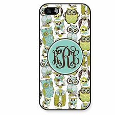 Personalized Case for iPhone 4 4S 5 5S Monogram Cute Owls Monogrammed Custom