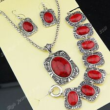 Freeshippping Red Turquoise Necklace Earrings Bracelet Women Vintage Jewelry Set