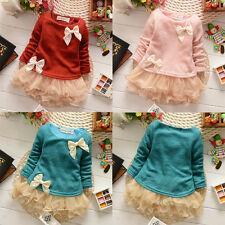 Casual Baby Girls Kids Toddlers Lace Bow Princess Dress One-piece Skirts 3M-2Y