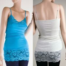 Basic Plain Cotton Cami Lace Long Tank Top Adjustable Spaghetti Strap Trim S M L
