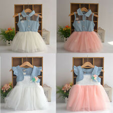 Baby Kids Girls Toddler Princess Ruffled Denim Jeans One-piece Tulle Lace Dress