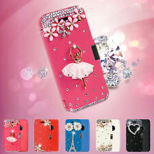 Luxury Bling 3D Crystal Diamond Slim PU Leather Flip Case Cover For iPhone 5 5s