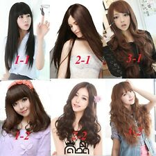 womens fashion style full long wigs straight curly wave hair cosplay party wig