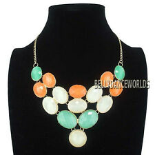 COLORFUL ROUND OVAL JELLY RESIN BEADS PENDANT BIB NECKLACE JEWELRY GOLDEN CHAIN