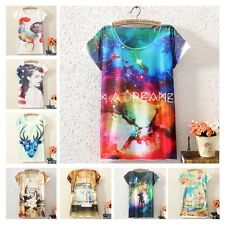 New Womens Short Sleeve Galaxy Geometric Graphic Printed T Shirt Tee Blouse Tops