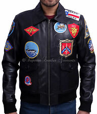 TOP GUN BLACK Men's Jet Fighter Bomber Air Force Navy Pilot Leather Jacket