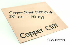 2.0 mm 14'swg Copper Sheet Offcuts Mixed Sizes  Arts & Crafts & Jewellery