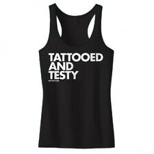 New TATTOOED AND TESTY RAZOR BACK TANK TOP VARIOUS COLORS DPCTED