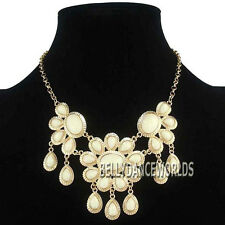 GOLDEN CHAIN FLOWER PETALS RESIN BEAD PENDANT BIB NECKLACE VINTAGE RETRO JEWELRY