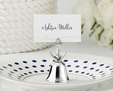 Silver Beach Nautical Anchor Kissing Bell Place Card Photo Holder Wedding Favor