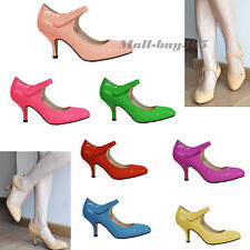 Women Lady Composite Patent leather Paste Lace Kitten Heels Round Toe Shoes AU