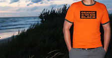 ORANGE IS THE NEW BLACK MEN'S T SHIRT HOMIES ENGLAND SPORT GYM FITNESS SUMMER