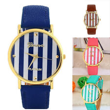 Classic Stripes Analog Quartz Wrist Watch Unisex Easy-to Read Multi Color