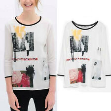 New Womens Fashion Printed Knitted Patchwork Chiffon 3/4 Sleeve T-shirt Tops