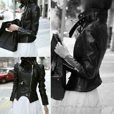 New Fashion Women's Girls Short Motorcycle Leather Slim Coat Outwear Color Black