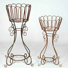 """34"""" Wrought Iron Deep Basket Plant Stand - Metal Flower Holder for Your Garden"""