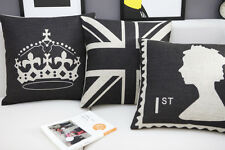 Cool Black UK The Union Jack Flag Queen Crown cushion cover throw pillow case