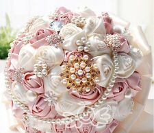 HANDMADE Ivory Satin Rose Silk Crystal Brooch Flower Bride Wedding Bouquet Posy