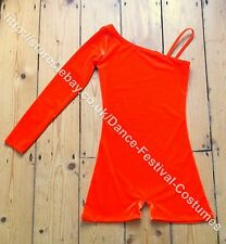 Orange girls dance costume beginners freestyle disco modern or tap solo  4-14yrs