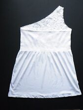 Avenue One Shoulder Top~New~1X 2X 3X 4X~Smocked Bust~Eyelet Lace Shoulder~WHITE