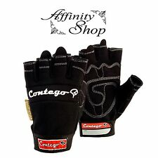 Contego Fingerless Gloves Mechanic Style Hand Protection Synth Leather Any Size
