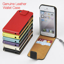 For Apple iPhone 4 4s 5 5s 5c 6 Genuine Leather Wallet Case Slim Top Flip Cover