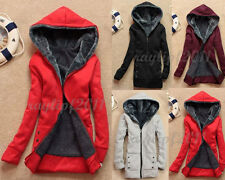 Casual Women's Winter Warm Fleece Hoodie Coat Outerwear Hooded Jacket Size S-XXL