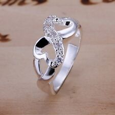 Women's 925 Sterling Silver Plated Rings CZ Bowknot Rings Size 6,7,8,9,10   R11