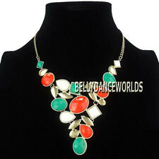 WATER DROP OVAL RESIN BEADS WATERFALL PENDANT BIB NECKLACE JEWELRY GOLDEN CHAIN