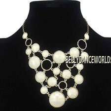 ROUND CIRCLE RINGS RESIN BEAD WATERFALL BUBBLE PENDANT BIB NECKLACE GOLDEN CHAIN